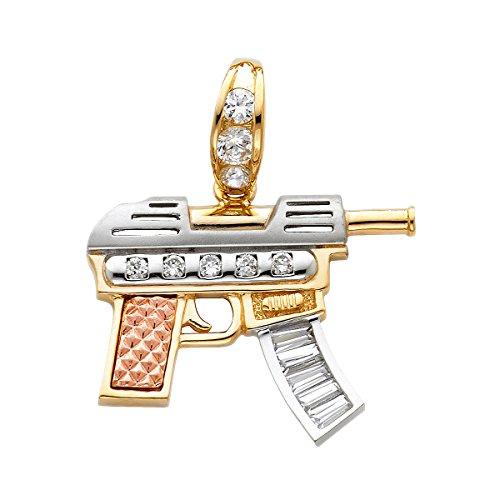 Solid 14k giallo bianco rosa oro CZ fucile pistola pendente 26x34 MM