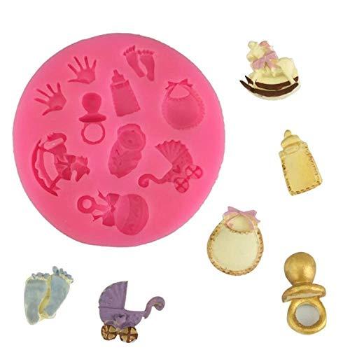 CVBGF Ducha-Fiesta-cochecito-botella-Trojan-Shape-3D-fondant-cake-silicon-mold-kitchen-candy-cupcake