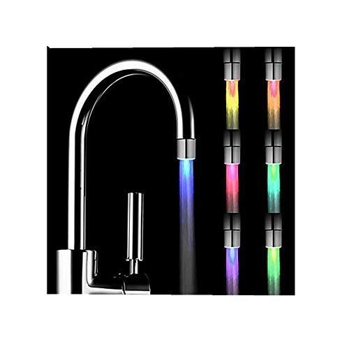 ODJOY-FAN 7 Farbe Veränderung LED Licht Romantisch Dusche Kopf Wasser Bad Zuhause Bad Glühen Bunt Blinkt LED Wasserhahn LED Light Wohnaccessoires Wasserhahn (35×24mm) (Silber,1 PC)