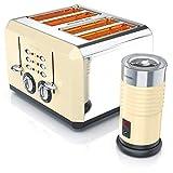 Arendo Arendo 722303568772 - Espumador de leche de aspecto retro, espuma de leche fría y caliente, 4 ranuras en carcasa de acero inoxidable con grado de tostado 1-6, acero inoxidable