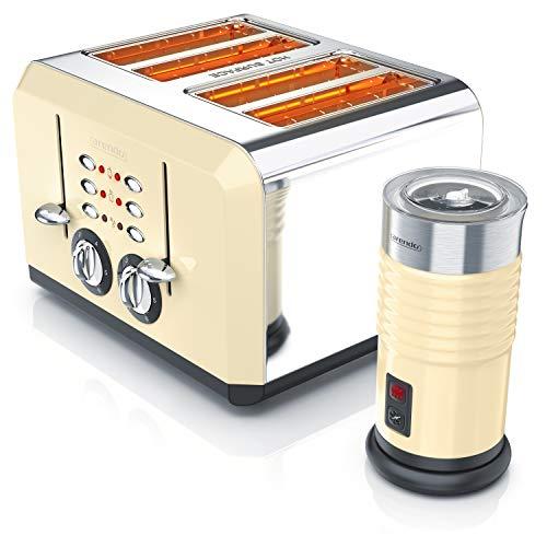 Arendo - 4-Scheiben Toaster + Milchaufschäumer im beigen Retro Look | kalter und warmer Milchschaum | 4-Schlitz-Toaster im Edelstahlgehäuse mit Bräunungsgrad 1-6