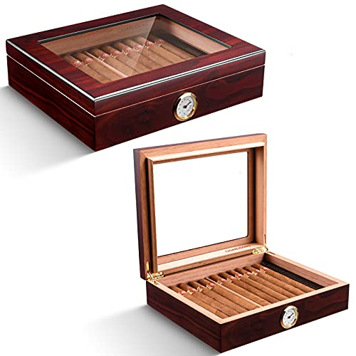 CIGARLOONG Cigar Humidor Spanish Cedar Desktop Box with Humidifier and Hygrometer Hold up to 25 Cigars(Color:Dark Red)