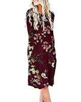 DB MOON Women Casual Long Sleeve Dresses Empire Waist Loose Dress with Pockets (Flower Wine Red, S)
