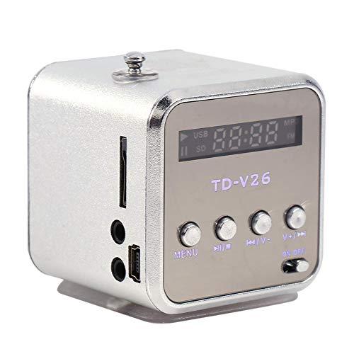 Yoidesu TD-V26 Mini Altavoz portátil,Reproductor de música Radio FM Batería Alimentado Mini Pantalla con Digital Altavoz,computadora y teléfono Celular Soporte para Tarjeta TF y Disco(Plata)