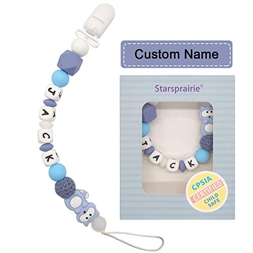 Personalized Pacifier Clip with Name Baby Teething Toys Custom Name Pacifier Holder BPA Free Silicone Beads Binky Holder for Boy Girl, Soothie,Mam, Shower Gift Raccoon (Blue)