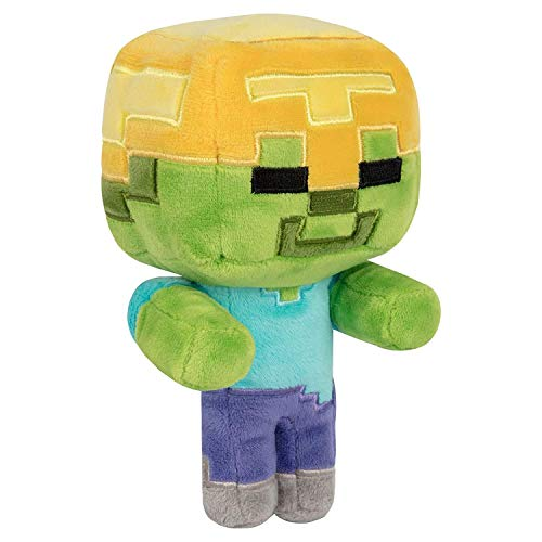 Minecraft Happy Explorer Gold Helmet Zombie Plush Peluche Casco de Oro