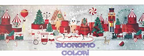Buonomo Colori Tappeto Cucina Natalizio, passatoia Runner Natale Antiscivolo - Lavabile, Decoro Natalizio,Varie Fantasie, 50 cm Larghezza Venduto al Metro (Schiaccianoci)