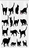 ABAKUHAUS Gato Cortina para baño, Los Gatitos Negros Animales Patas, Tela con Estampa Digital Apta Lavadora Incluye Ganchos, 120 x 180 cm, Blanco Negro