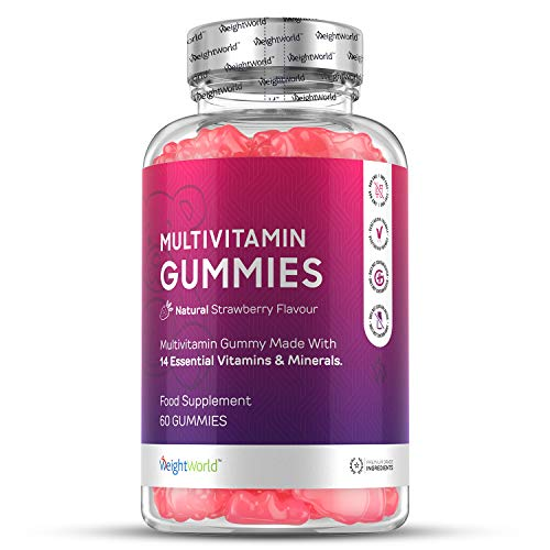 High Strength Chewable Multivitamin Gummies - 60 Count Vegetarian 14 Essential Multivitamins & Minerals Supplement, Vitamin C, A, D, B, Biotin + Zinc, Multivitamin Tablets for Men & Women Alternative