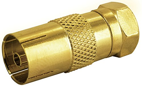 Schwaiger GmbH SCHWAIGER -GOUST9300 537- F-Stecker/Adapter/F-Stecker > F-Buchse/für Antennenkabel, Antennendose/ 1 Stück/Gold