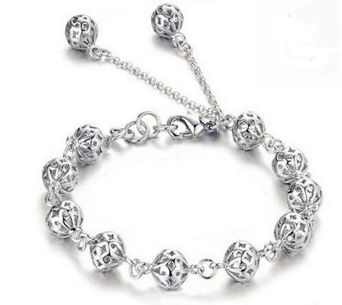 Hollow Ball Bracelet 925 Sterling Silver Charm Jewellery Womens Bangle Boho Gift