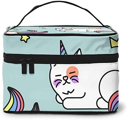 Bolsa de maquillaje grande con diseño de unicornio y gato arcoíris para mujer, portátil, organizador de viaje con cremallera de malla cepillo de bolsillo con asa para niña