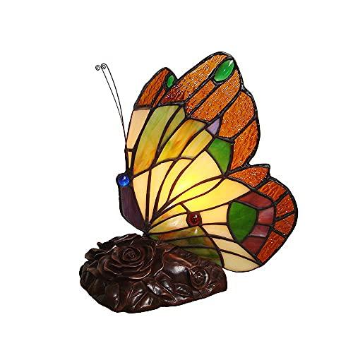 Tiffany Style Butterfly Tafellamp 8 Inch Handgemaakte Gekleurde Glas Nachtlampje Slaapkamer Nachtkastje Tafel Decoratie Tafelverlichting