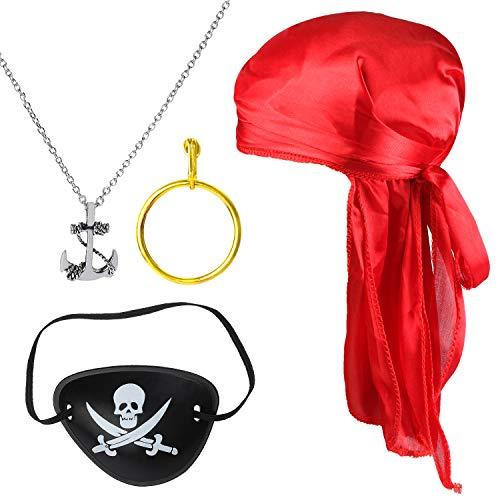 Beelittle 4 stuks Halloween Pirate kostuumaccessoires Durag Long-Tail Headwraps Silky Pirate Cap Pirate Eye Patch gouden oorbel ketting Pirate rollenspel set (Rood)