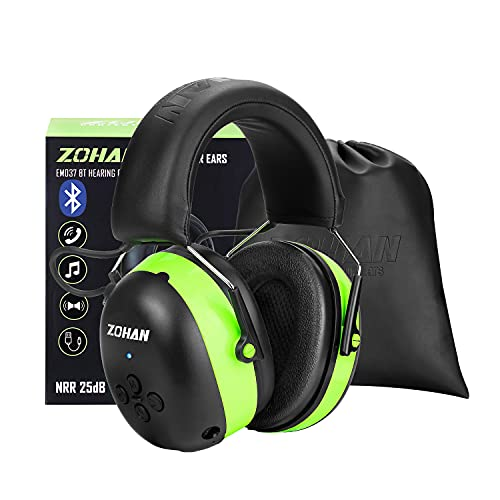 ZOHAN EM037 Hearing Protection with Bluetooth, NRR 25dB Noise Reduction Ear Protection,Headphones for Mowing Construction