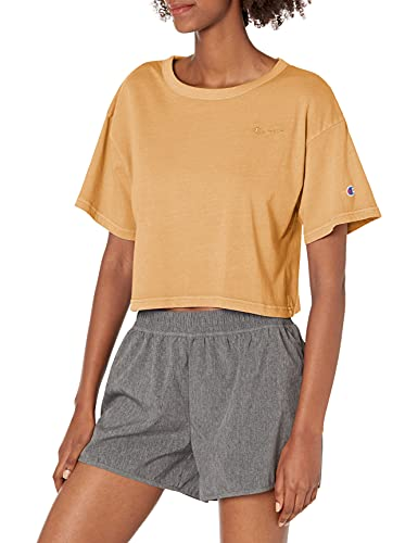 Champion Lightweight Cropped tee Camiseta, Vintage Dye Gold Buttercup 586392, XS para Mujer