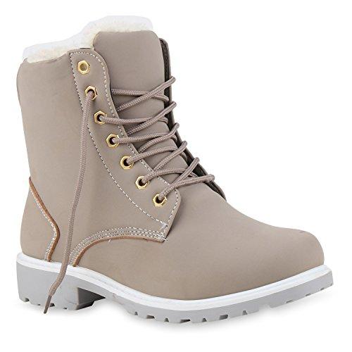 Warm Gefütterte Worker Boots Damen Outdoor Stiefeletten Robust 124554 Grau Camargo 39 Flandell