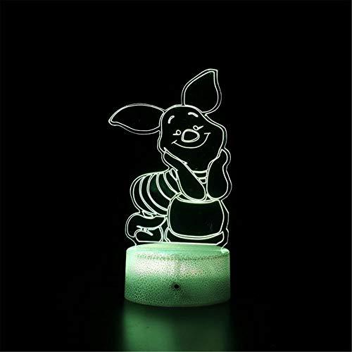 Winnie Pooh Bear - Lámpara de ilusión 3D con control remoto y toque inteligente, regalos para niños y niñas de 2 3 4 5 6 7 8 años de edad