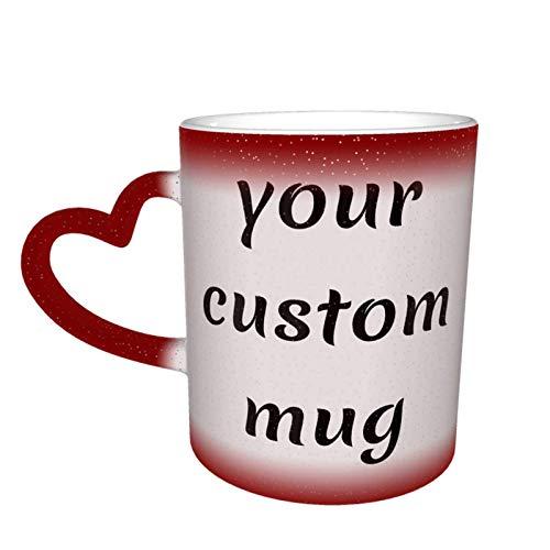 Taza cambiante de color personalizado su taza personalizada de doble cara de texto personalizado diseño de imagen su propia taza de café taza de cerámica