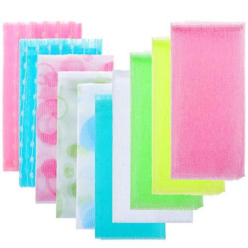 Ioffersuper 10Pcs Bath Washcloth Towel Magic Shower Wash Cloth Beauty Skin Wash Towel Make Foam Exfoliating Bath Cloth Scrub Your Body for Women Men Baby Bath Shower Supplies,90cm/10 Colors