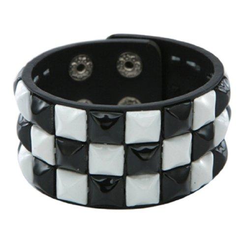 Retro Black and White 3 Row Pyramid Studded Wristband