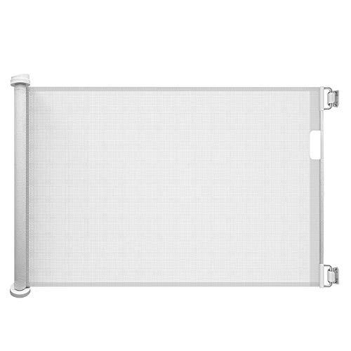 Callowesse AIR - Einziehbares Tür- und Treppenschutzgitter 0-130 cm (110 cm bei Verwendung als Baby Schutzgitter) - Farbe: Weiß