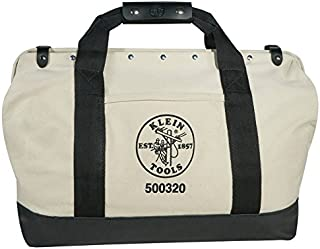 Klein Tools 5003-20 Canvas Tool Bag Made of Heavy Duty No. 8 Natural Canvas with 14 Interior Pockets, 20-Inch