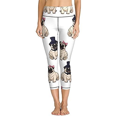 V-Vgl Women's Yoga Pants Couple of Cute Pugs Jogger Running Stretchy Skinny Leggings Capris High Waist Cropped Trouser