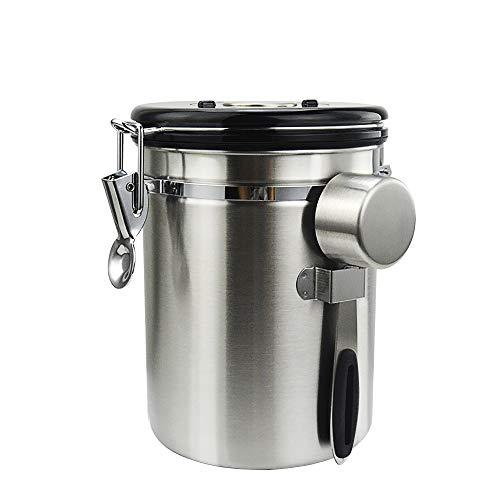 コーヒー キャニスター 304ステンレス コーヒー豆 茶筒 お菓子 糖 香料 日付表示ダイヤル 防湿保存 密封容器 (シルバー, 1500ml)