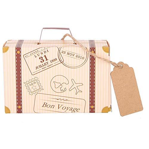 50pcs Mini Maleta Favor Box Party Favor Candy Box, Maleta Favor Boxes Vintage Favor Box Candy Gift Bag para Viajes Tema Fiesta Boda, Mini Maleta de Papel