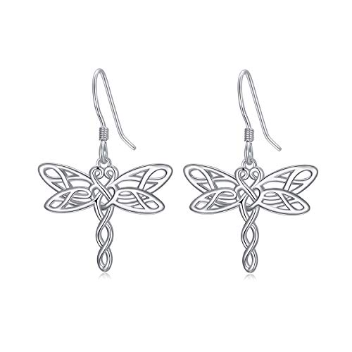 Dragonfly Earrings for Women Sterling Silver Dragonfly Dangle Earrings Irish Celtic Jewelry for Dragonfly Lovers Valentine's Day gifts