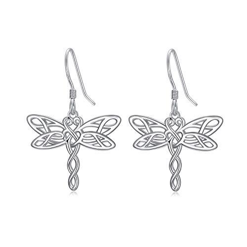 Pendientes colgantes de plata de ley, diseño de libélula con nudo celta, regalo de cumpleaños para mujeres