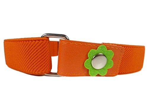 Elastischer Gürtel für Mädchen 1-6 Jahre, mit Blume Design - Orange