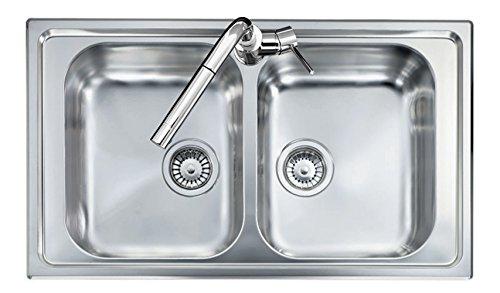 Lavello acciaio inox satinato PLADOS OLYMPUS 8620 due vasche