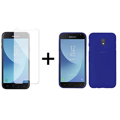 TBOC Pack: Funda de Gel TPU Azul + Protector Pantalla Vidrio Templado para Samsung Galaxy J3 [2017] [5.0 Pulgadas]. Silicona Ultrafina y Flexible. Protector Resistente a Golpes Caídas y Arañazos