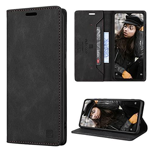 GANKER Handyhülle für Xiaomi Redmi Note 8 Pro Hülle Premium Leder [RFID Schutz] Flip Hülle Magnetisch Klapphülle Lederhülle TPU Bumper Schutzhülle für Xiaomi Redmi Note 8 Pro Hülle - Schwarz