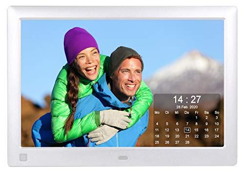 Cytem 10.1 Zoll Digitaler Bilderrahmen | 16:10 HD-IPS Display | Bewegungssensor | Transparente Kalender-Uhr | korrekte Bilddrehung und Größenanpassung | Gemischte Diaschau | min. 10.000 Fotos | Silber