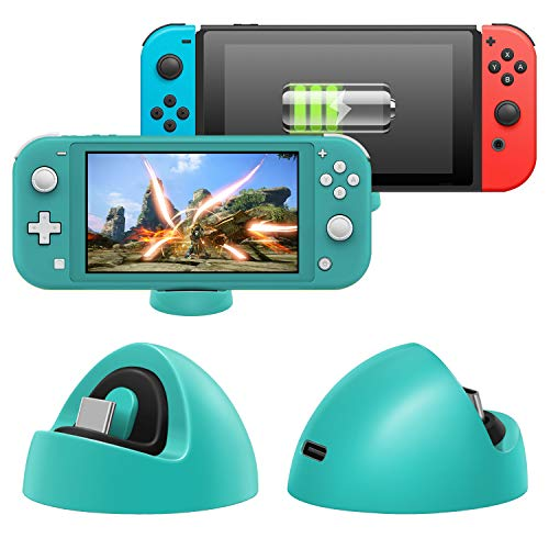 Charger for Nintendo Switch Lite and Nintendo Switch, Compact Charging Dock Stand Station with Type C Port Compatible with Nintendo Switch Lite 2019 (Green)