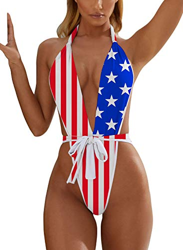 Maiô feminino monoquíni sexy AllureLove, decote V profundo, biquíni semitransparente com costas nuas, traje de banho atrevido, C-american Flag, Medium