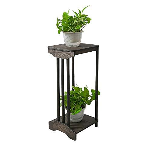 GIBOLEA フラワースタンド 木製 フラワーラック 花台 花瓶台 鉢置き台 観葉植物 飾り台 植木鉢スタンド 2段 玄関置物ラック アンティーク風 室内 (高い 60CM)