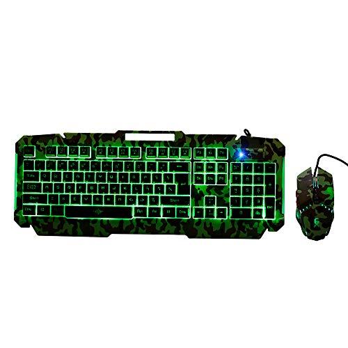 Docooler toetsenbord en muis kit 104 toetsen rolgordijn met 19 toetsen, bekabeld toetsenbord, sleutelhanger, drijvend, optische motor, met 4 kleuren