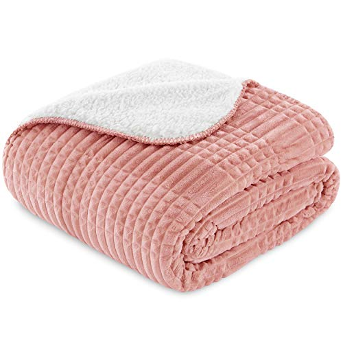 Vipalia Gof13 Mehrzweck-Decke, Fleece, Geschenk, Plaid, Sofa, klein, bequem, leicht, weich, Lammfell, Qualität, Rosa, 125 x 155 cm