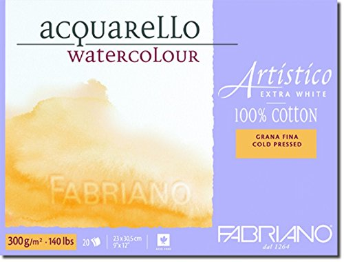 Fabriano Artistico 140 lb. Cold Press 20 Sheet Block 9x12' - Extra White