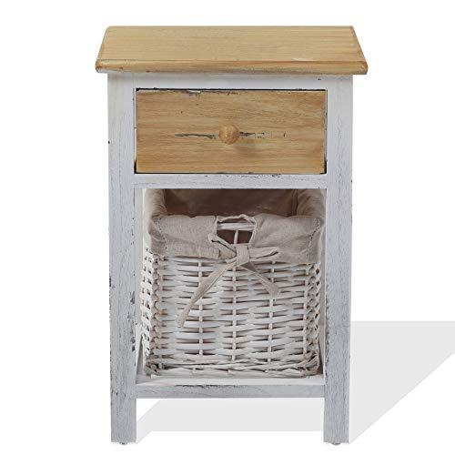 Rebecca Mobili Petite Table de Chevet, Commode Montée en Bois, 1 Tiroir 1 Tiroir en Osier, Blanc Marron Clair, Shabby Style, Chambre – Dimensions: 46 x 31 x 27 cm (HxLxL) - Art. RE4357
