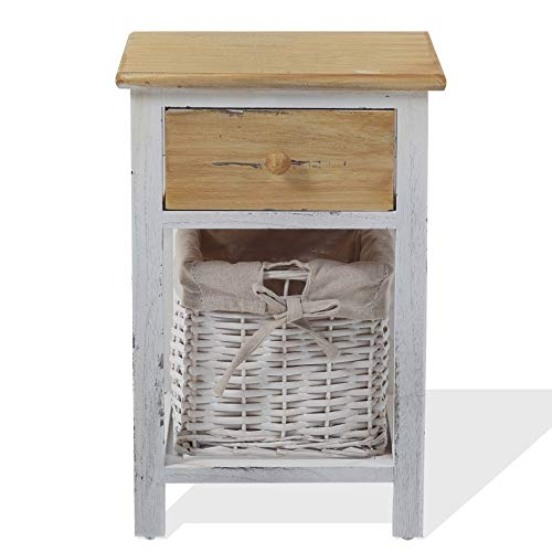 Rebecca Mobili Bedside Table Nightstand 1 Drawer 1 Basket REBECCA COUNTRY Wood Wicker White Shabby Bedroom Bathroom - 46 x 31 x 27 cm (H x W x D) - Art. RE4357