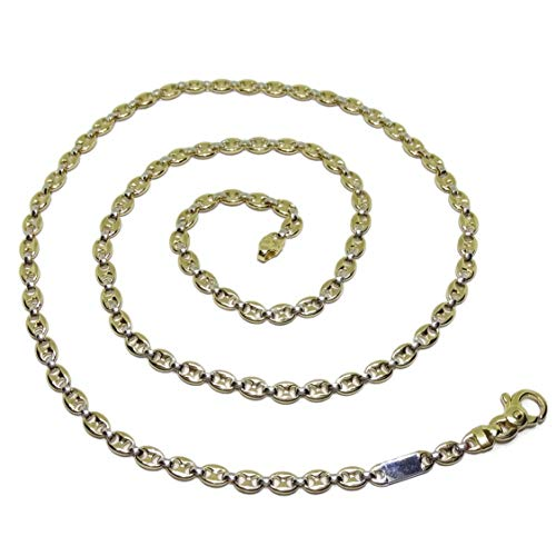 Cadena calabrote Maciza de Oro Blanco y Oro Amarillo de 18k para Mujer 60cm de Larga y 4mm de Ancha. Cierre mosquetón