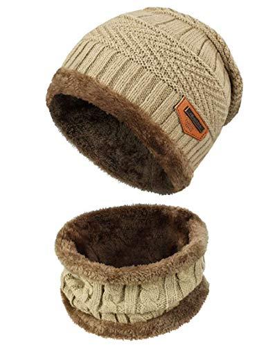 heekpek Gorro Invierno Hombre con Bufanda, Calentar Sombreros Gorras Beanie de Punto Gorro y Bufanda Invierno Hombre Beanie con Bufanda