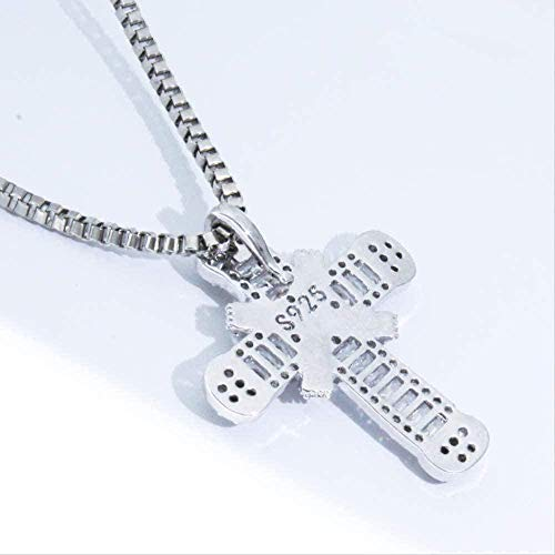 Yiffshunl Necklace Hip Hop Cross Pendant Necklace AAA Cubic Zircon Pendant Necklace Men Women Necklace Jewelry Necklace Gift