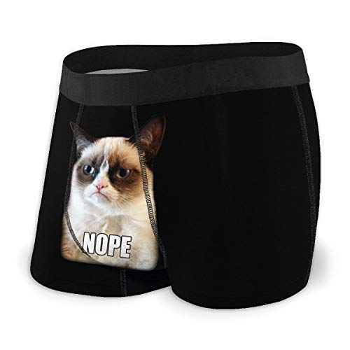 Laki-co Men's Boxer Briefs, Grumpy Cat Nope Expression Soft Underwear with Pouch Men's Give-N-Go Boxer Brief XL