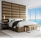 Vänt Upholstered Wall Panels - King/Cal King Size Wall Mounted Headboards - Suede Neutral - Pack of 4 Panels (Each Individual Panel 39'x11.5')